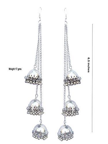 Shreyadzines Designer Afghani Kashmiri Tribal Oxidized Dangle Long Earrings For Women